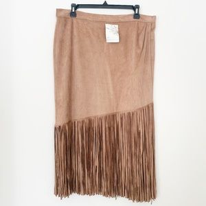NWT Boston Proper Faux Suede Fringe Skirt
